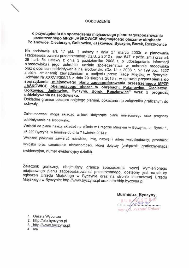 Ogłoszenie o przystąpieniu do sporządzenia miejscowego planu zagospodarowania MPZP Jaśkowice obejmującego obszar w obrębach Polanowice, Ciecierzyn, Gołkowice, Jaskowice, Byczyna, Borek, Roszkowice.jpeg