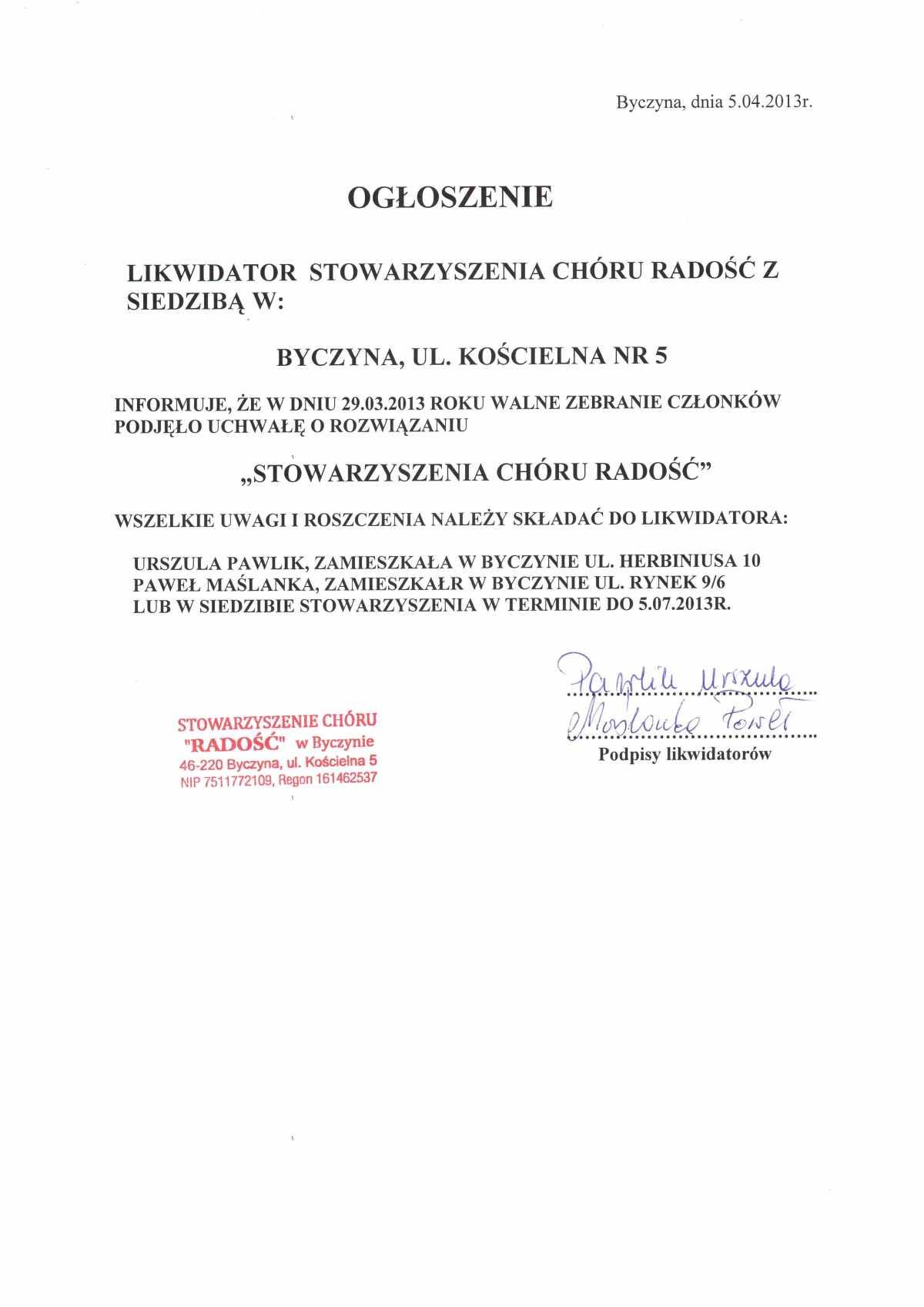 Ogłoszenie o likwidacji Stowarzyszenia Chóru Radość.jpeg