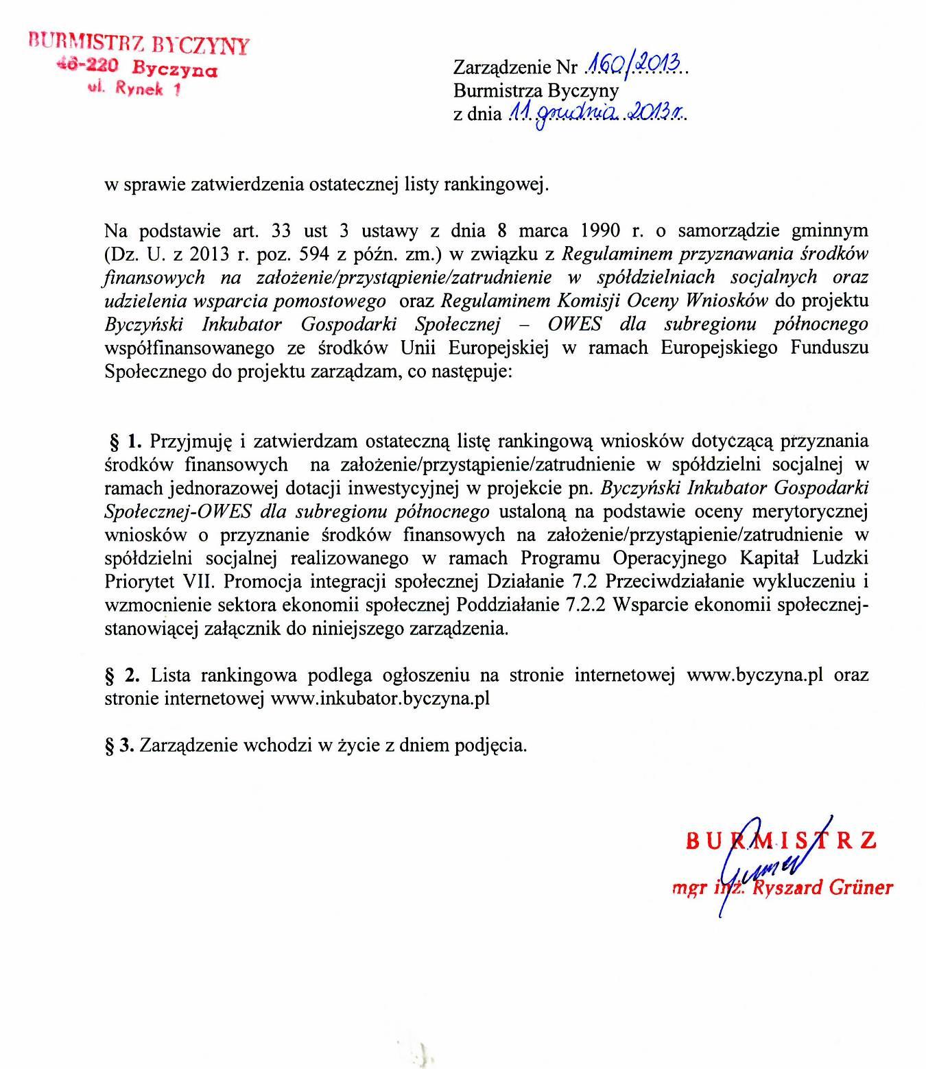 Zarządzenie Burmistrza Byczyny z dnia 11.12.2013 r. w sprawie zatwierdzenia  ostatecznej listy rankingowej.jpeg