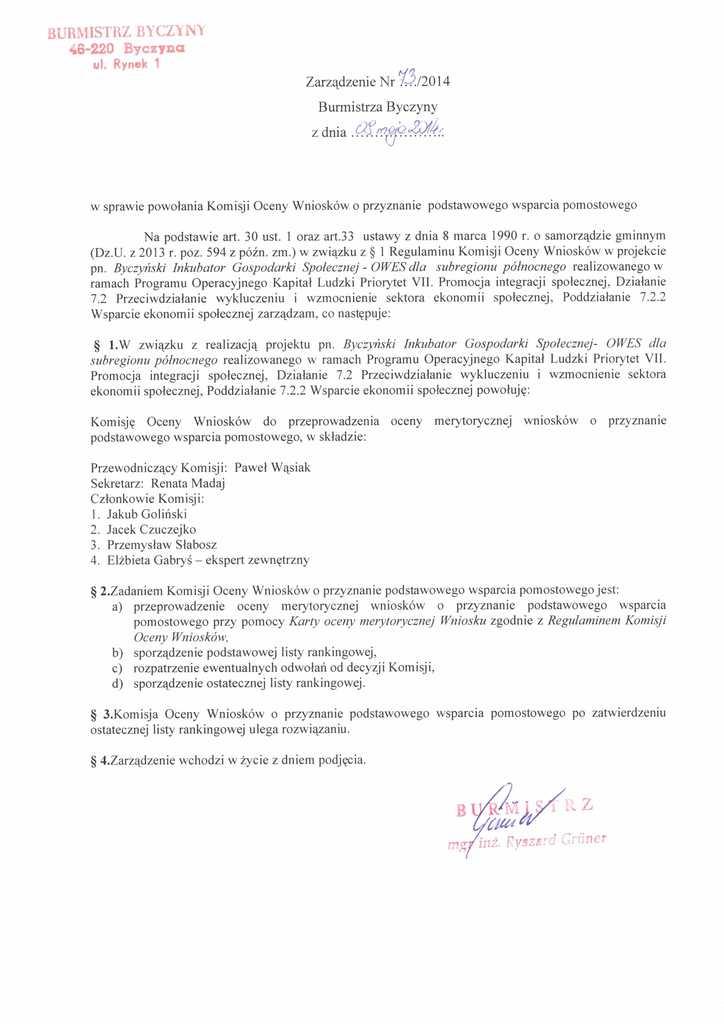 Zarządzenie nr 73 Burmistrza Byczyny z dnia 09.05.2014 r..jpeg