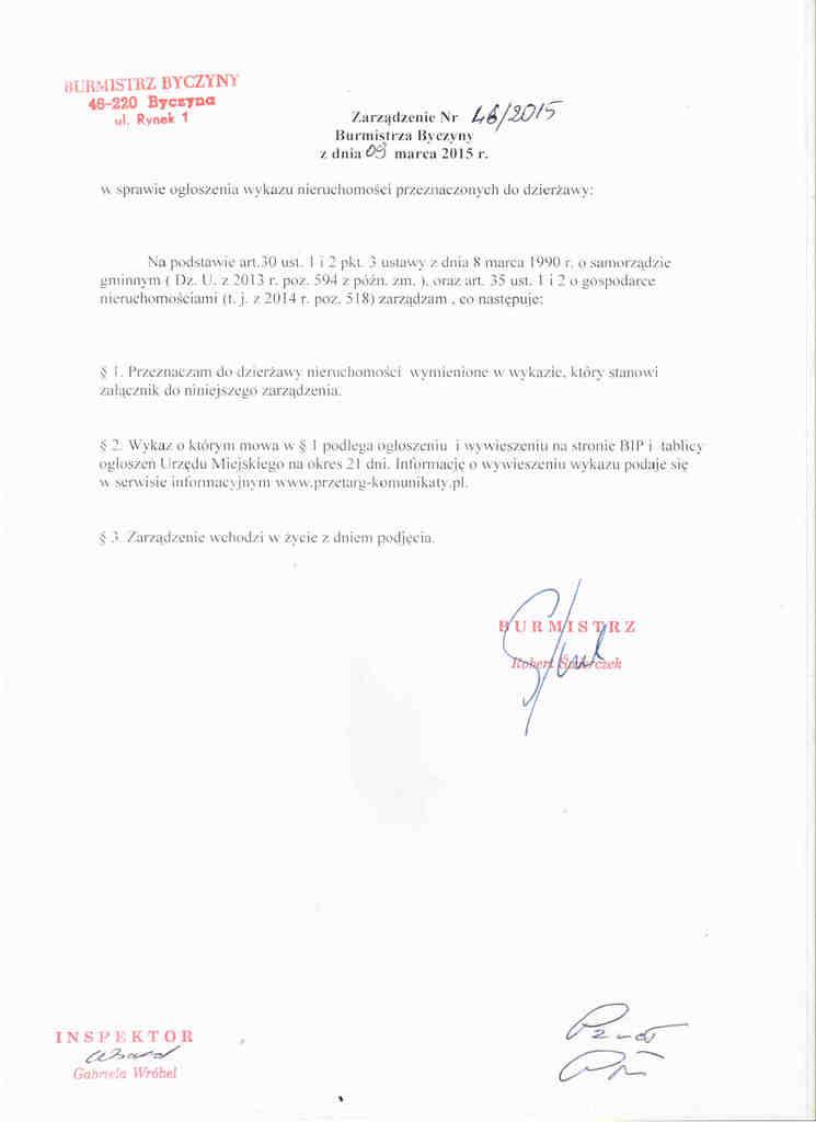 Ogłoszenie wykazu nieruchomości przeznaczonych do dzierżawy 09.03.2015.jpeg